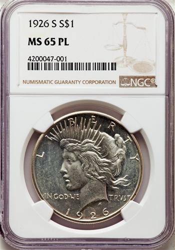 1926-S US Peace Silver Dollar $1 - NGC MS65