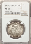 1917-D US Silver 50C Walking Liberty Half Dollar - Obverse - NGC MS65
