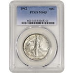 1942 US Walking Liberty Silver Half Dollar 50C - PCGS MS65