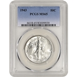 1943 US Walking Liberty Silver Half Dollar 50C - PCGS MS65