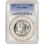 1943 US Walking Liberty Silver Half Dollar 50C - PCGS MS66