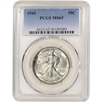 1945 US Walking Liberty Silver Half Dollar 50C - PCGS MS65