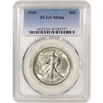 1945 US Walking Liberty Silver Half Dollar 50C - PCGS MS66
