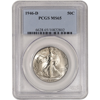 1946-D US Walking Liberty Silver Half Dollar 50C - PCGS MS65