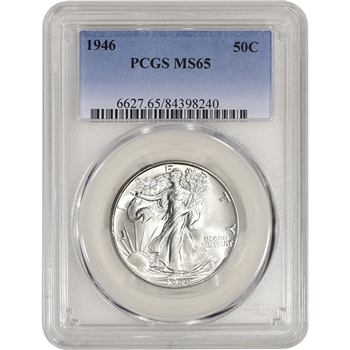 1946 US Walking Liberty Silver Half Dollar 50C - PCGS MS65