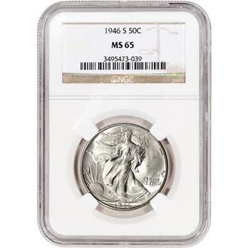 1946-S US Walking Liberty Silver Half Dollar 50C - NGC MS65