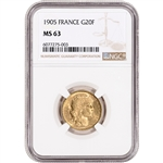 1905 France Gold 20 Francs - NGC MS63