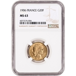 1906 France Gold 20 Francs - NGC MS63
