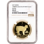 1988 PM Isle of Man Gold 1 Crown - Cat Series - Manx - NGC MS69
