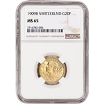 1909 B Switzerland Gold 20 Francs - NGC MS65