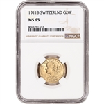 1911 B Switzerland Gold 20 Francs - NGC MS65