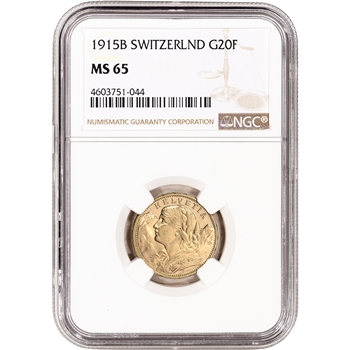 1915 B Switzerland Gold 20 Francs - NGC MS65