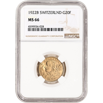 1922 B Switzerland Gold 20 Francs - NGC MS66