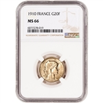 1910 France Gold 20 Francs - NGC MS66