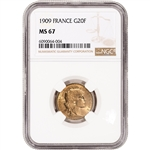 1909 France Gold 20 Francs - NGC MS67