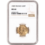 1909 France Gold 20 Francs - NGC MS66