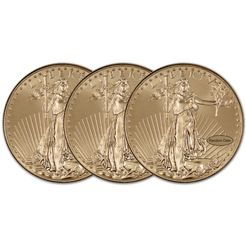 American Gold Eagle (1 oz) $50 - BU - Random Date - Three (3) Coins