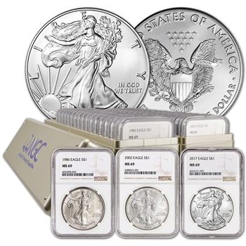33-pc. 1986 - 2018 American Silver Eagle Complete Date Set NGC MS69 Large Label
