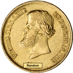 Brazil Gold 10000 Reis .2643 oz Pedro II - Average Circulated Random Date
