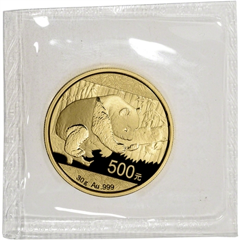 China Gold Panda 30 g 500 Yuan - BU - Mint Sealed - Random Date