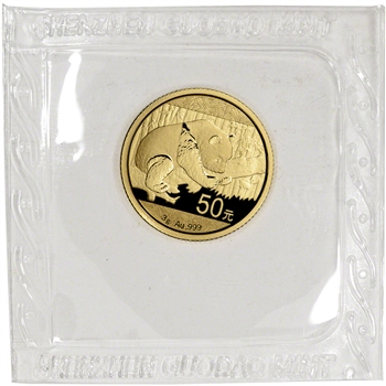 China Gold Panda 3 g 50 Yuan - BU - Mint Sealed - Random Date