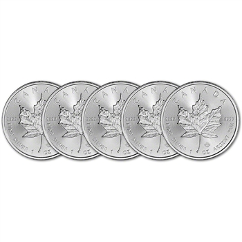 Canada Silver Maple Leaf - 1 oz - $5 - BU - Five 5 Coins - Random Date