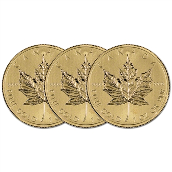 Canada Gold Maple Leaf - 1 oz - $50 - .9999 Fine - Random Year - Three (3) Coins