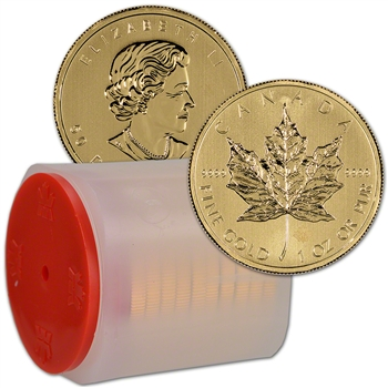 Canada Gold Maple Leaf - 1 oz $50 .9999 - Random Year - 1 Roll 10 Coin Mint Tube