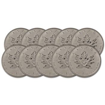 Canada Palladium Maple Leaf - 1 oz - $50 - .9995 Fine - Random Year - Ten (10) Coins