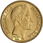 Colombia Gold 5 Pesos (.2355 oz) - AU/BU - 1919 - 1924 - Bolivar Large Head