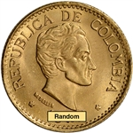 Colombia Gold 5 Pesos (.2355 oz) - AU/BU - 1924 - 1930 - Bolivar Small Head
