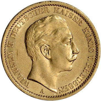 Germany Prussia Gold 20 Mark (.2304 oz) - XF/AU - Random Date