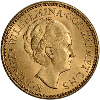 Netherlands Gold 10 Gulden (.1947 oz) - Wilhelmina - Bare - BU - Random Date