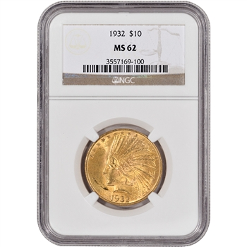 US Gold $10 Indian Head Eagle - NGC MS62 - Random Date