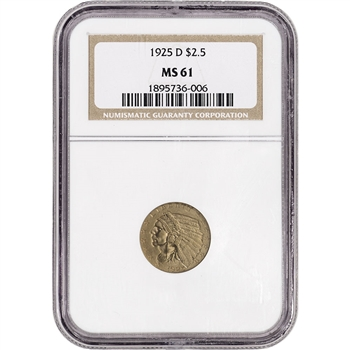 US Gold $2.50 Indian Head Quarter Eagle - NGC MS61 - Random Date