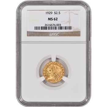 US Gold $2.50 Indian Head Quarter Eagle - NGC MS62 - Random Date