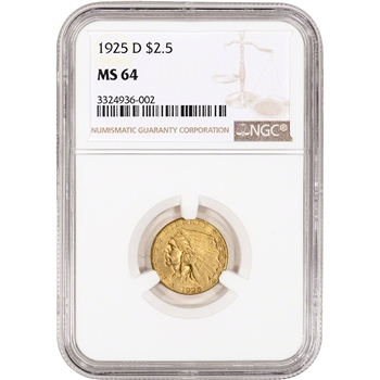US Gold $2.50 Indian Head Quarter Eagle - NGC MS64 - Random Date