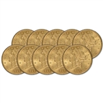 Ten (10) US Gold $20 Liberty Head Double Eagle - Almost Uncirculated Random Date