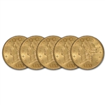 Five (5) US Gold $20 Liberty Head Double Eagle - Almost Uncirculated Random Date