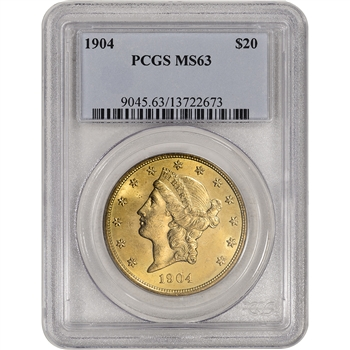 US Gold $20 Liberty Head Double Eagle - PCGS MS63 - Random Date