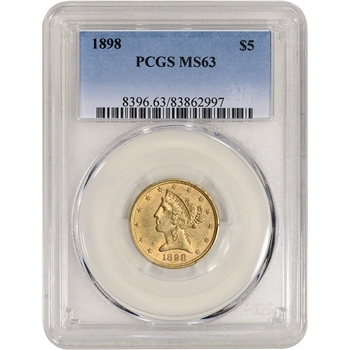 US Gold $5 Liberty Head Eagle - PCGS MS63 - Random Date