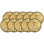 Ten (10) US Gold $20 Saint-Gaudens Double Eagle Almost Uncirculated Random Date