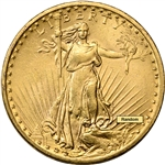 US Gold $20 Saint-Gaudens Double Eagle - 1908 No Motto Almost Uncirculated