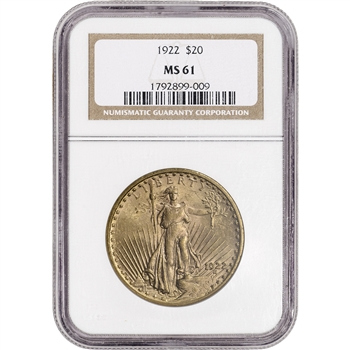 US Gold $20 Saint-Gaudens Double Eagle - NGC MS61 - Random Date