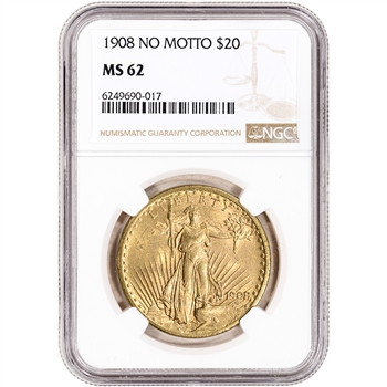 US Gold $20 Saint-Gaudens Double Eagle - NGC MS62 - 1908 No Motto