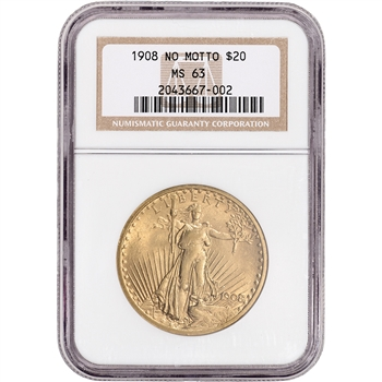 US Gold $20 Saint-Gaudens Double Eagle - NGC MS63 - 1908 No Motto