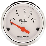 Auto Meter 1316 Arctic White 73 Ohms Empty/8-12 Ohms Full Fuel Level Gauge