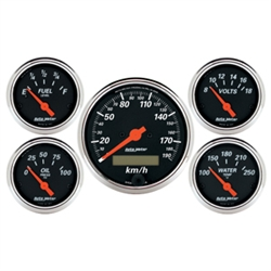 Auto Meter 1421-M Designer Black 5 Piece Gauge Kit Box