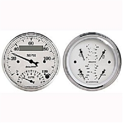 Auto Meter 1620 Old Tyme White Tachometer/Speedometer Combo and Quad Gauge