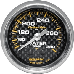 Auto Meter 4731 Carbon Fiber 120-280 °F Water Temperature Gauge
